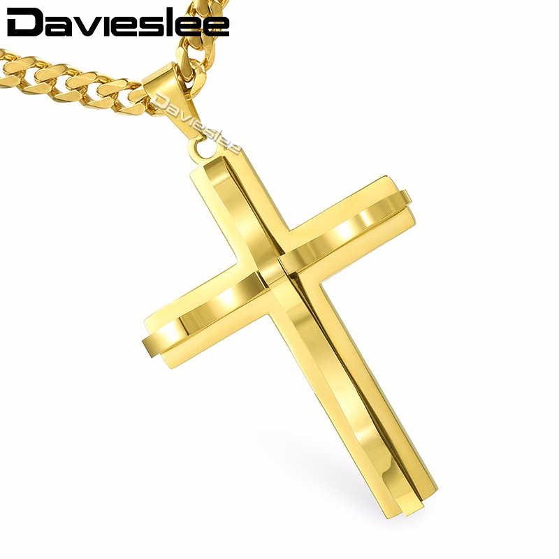 Davieslee Mens Chain Curved Cross Pendant Necklace Stainless Steel Curb Cuban Link Black Gold Silver Tone 18-36inch LKPM137