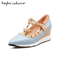 2018 NEW Woman High Heels Shoes Ladies Sexy Pointed Toe Women Pumps Buckle Rivets BLUE PINK