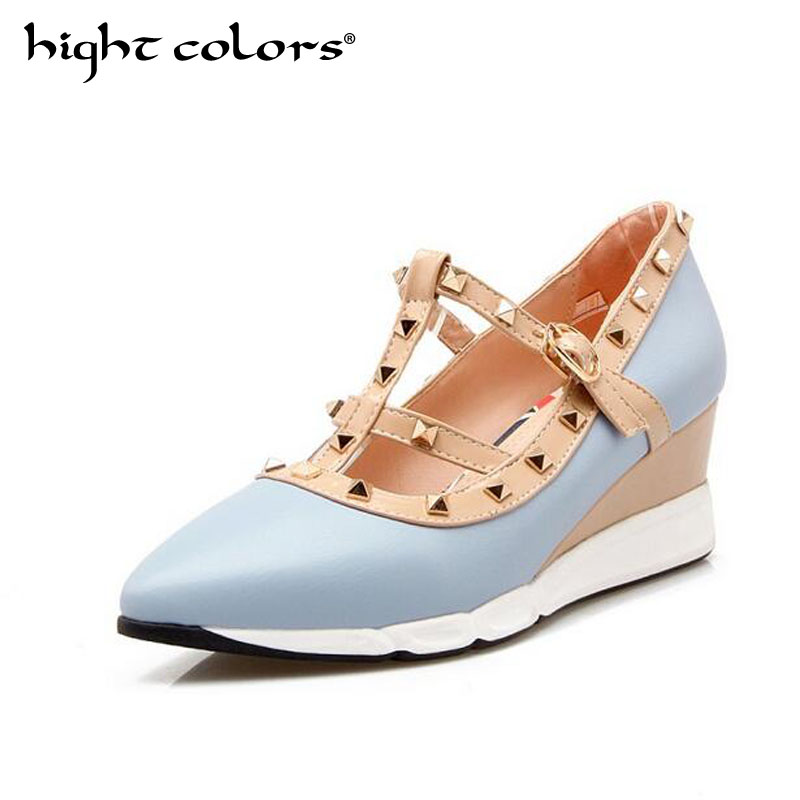 2019 NEW Woman High Heels Shoes Ladies Sexy Pointed Toe Women Pumps Buckle Rivets BLUE PINK BLACK BEIGE Heels Shoes
