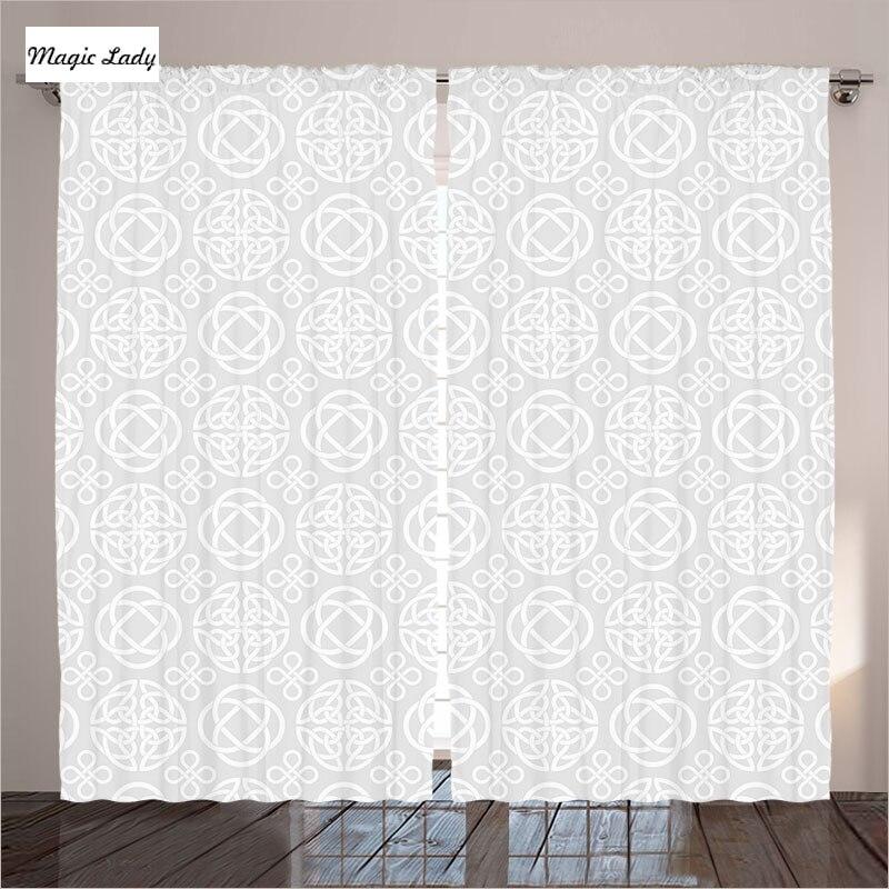 Gray curtains living room bedroom tribal celtic knots for Celtic bedroom ideas