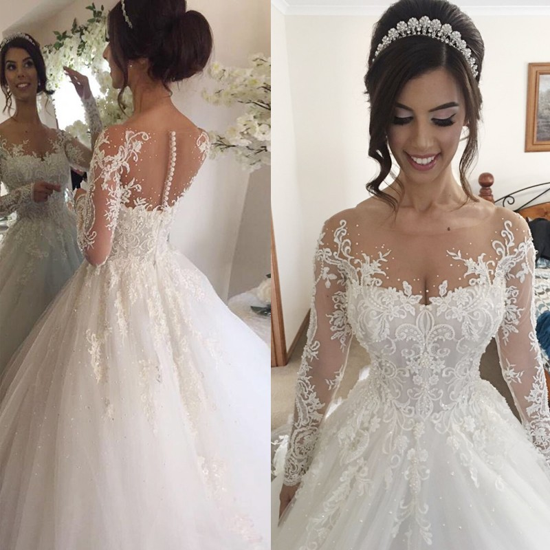miaoduo 2019 Robe De Mariage Ball Gown Wedding Dresses Luxury Beading Lace Wedding Gowns Long Sleeves
