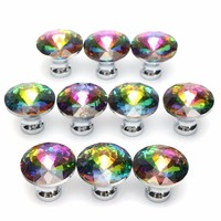 MTGATHER 10pcs Colorful Drawer Door Knobs Cupboard Wardrobe Cabinet Furniture Handle Pull Crystal Alloy
