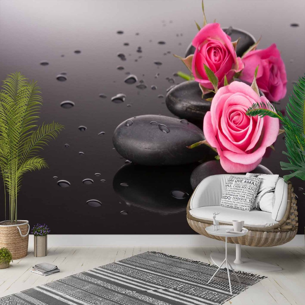 Else Black Spa Stones Pink Roses Water Drops 3d Photo Cleanable Fabric Mural Home Decor Living Room Bedroom Background Wallpaper