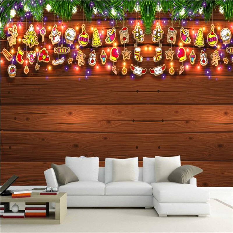Christmas Decoration Wallpapers For Walls 3D Home Decor Wood Brick Tree Wall Murals For Living Room Bedrooms Cafe Bar Restaurant