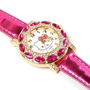 Fashion Brand Hello Kitty Quartz Watch Children Girl Women Leather Crystal Wrist Watch Kids Wristwatch Cut Lovely Clock relogio protective silver plated plastic back case for iphone 4 4s purple silver