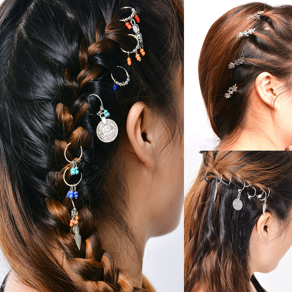 1 Pack Africa Pigtail Women Hairpin Hair Clip Braid Coin Feather Beads DIY Loops