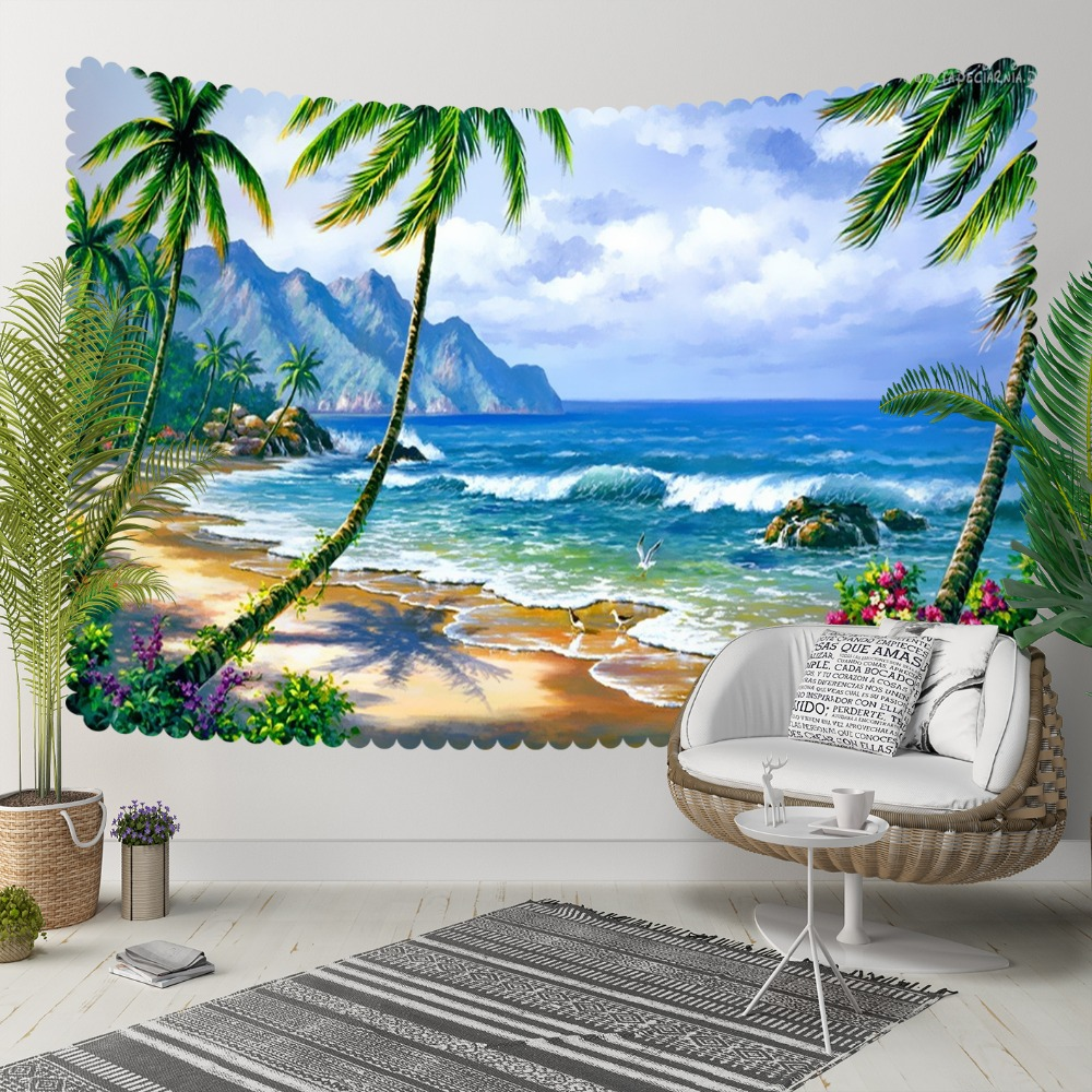 Else Green Palm Trees Tropical Beach Sea Waves 3D Print Decorative Hippi Bohemian Wall Hanging Landscape Tapestry Wall Art