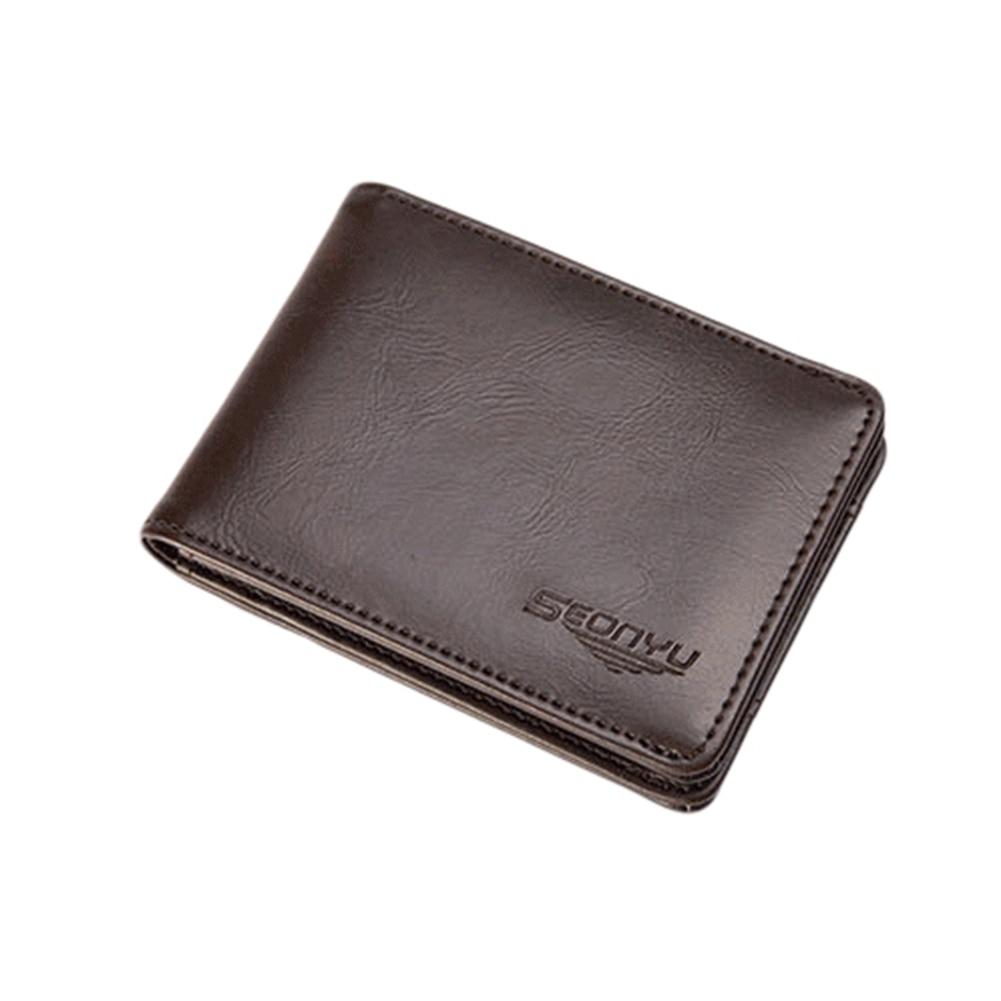 Men's Pigskin Genuine Leather Bifold Wallet Credit/ID Card Holder Short Purse zelda wallet bifold link faux leather dft 1857