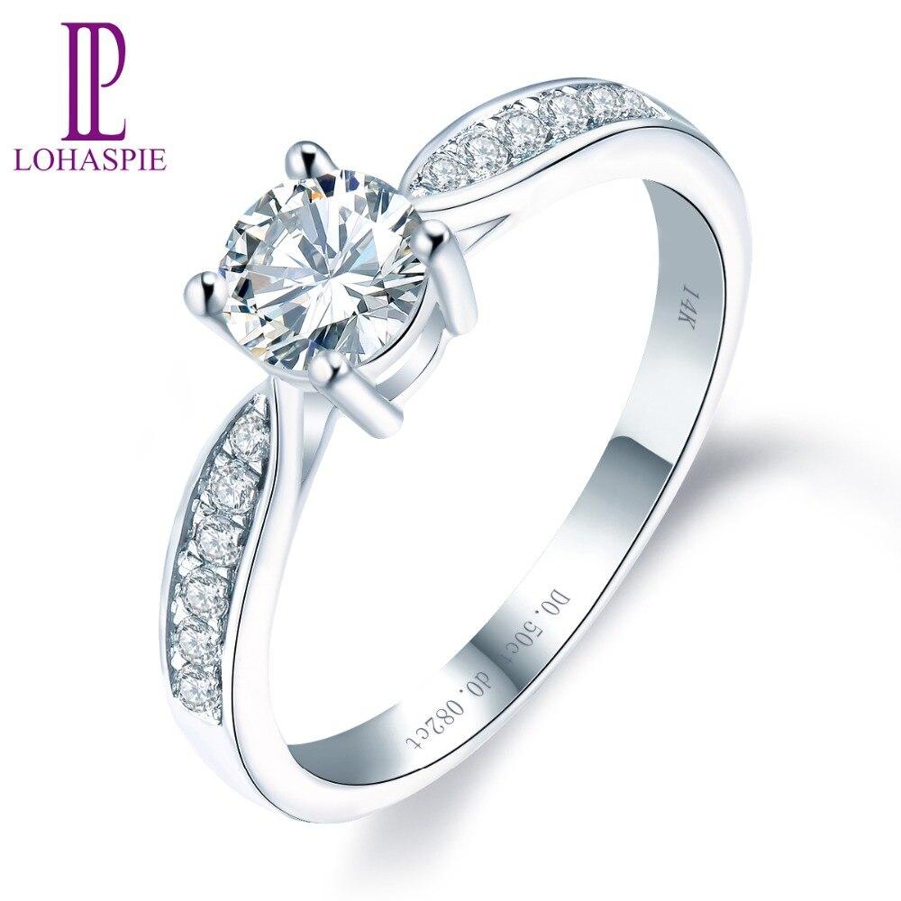 Обручение кольцо 14 К белого золота синтетический бриллиант 0.5ct с натуральным бриллиантом 0.082ct ювелирные украшения для женщин подарок Новый