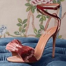 Women Butterfly-knot Fringe Sandals Sexy High Heel Sandals 2019 Sexy Wedding Thin Heels Sandals Gladiator Buckle Strap Shoe цена 2017