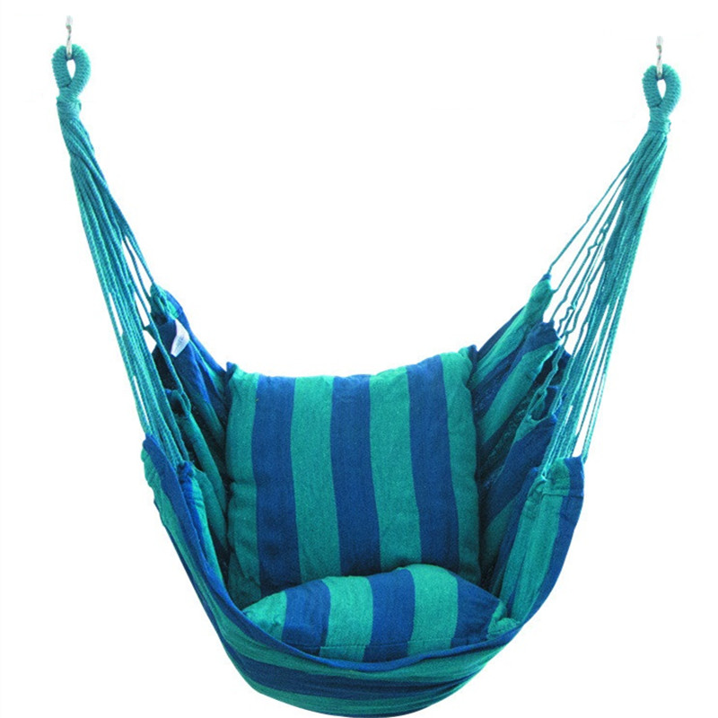 Chaise de jardin suspendue chaise d'intérieur mobilier d'extérieur hamacs toile épaisse dortoir balançoire donner 2 oreillers hamac Camping