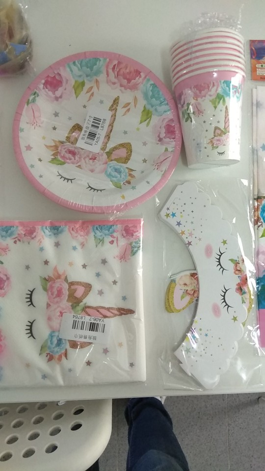 1set Pink Unicorn Party Supplies photo review
