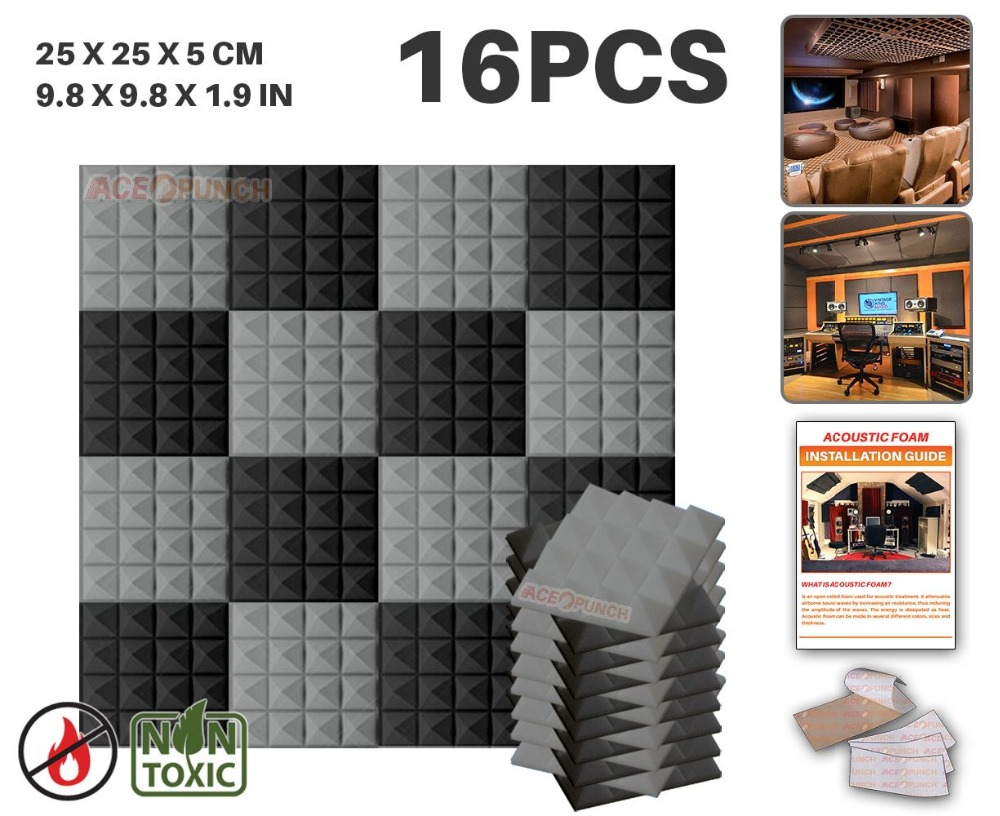Arrowzoom 16 pcs Pack Color Combination 9.8 x 9.8 x 1.9 Pyramid Tile Studio Sound Absorbing Panel Acoustic Foam TreatmentArrowzoom 16 pcs Pack Color Combination 9.8 x 9.8 x 1.9 Pyramid Tile Studio Sound Absorbing Panel Acoustic Foam Treatment