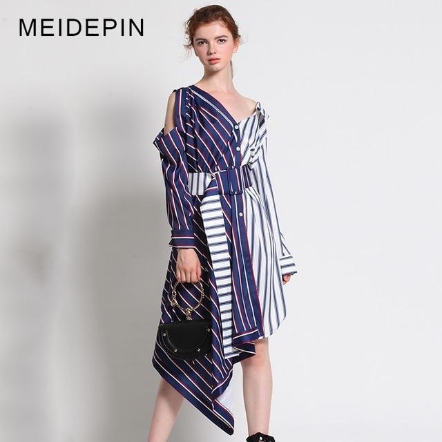2017 Women Top Fashion Summer Y V Neck High Street Long Sleeve Asymmetrical Striped Dress