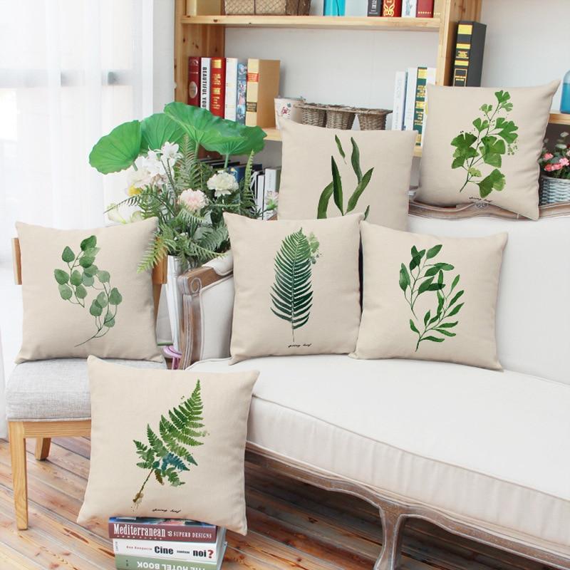 Green Grass Tropical plant Pillow Case Cotton Linen Sofa Cushion Cover Décor