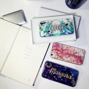 Image 2 - Funda de lujo para samsung galaxy s7, s8, s9, s10, note 8, 9, 10, nombre único personalizado, letras ostentosas, purpurina, escamas de mármol suave