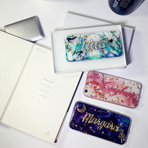 Image 2 - for samsung galaxy s7 s8 s9 s10 note 8 9 10 Luxury Unique Custom name letter bling glitter soft marble flake phone case cover