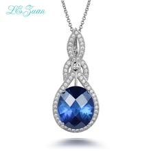 Я и Цзуань 10.29ct синий камень кулон Real стерлингового серебра 925 ожерелье для женщин Шахматная огранки драгоценных камней Роскошные Подвески