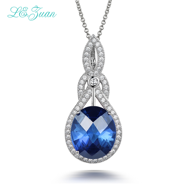 I&zuan 10.29ct Blue Stone Pendant Real 925 Sterling Silver Jewelry necklace For Women Checkerboard Cut Gems Luxury Pendants