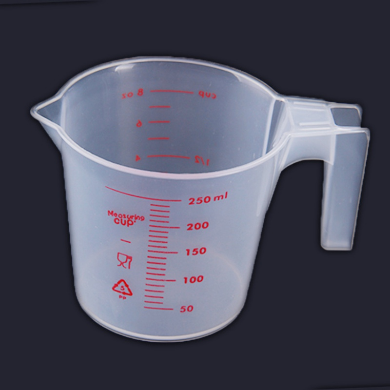 250ml Transparent Plastic Measure Cup for Liquid Measuring With Handle