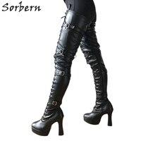 Sorbern удлиненные ноги промежности сапоги до бедра 12 см песочные часы Высокая платформа на шнуровке в готическом стиле панк обувь Для женщин