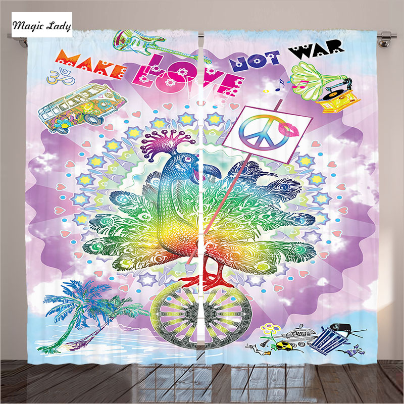 Peace Sign Bedroom Accessories: Curtains Decorative Accessory Bird Peace Signs Hippie