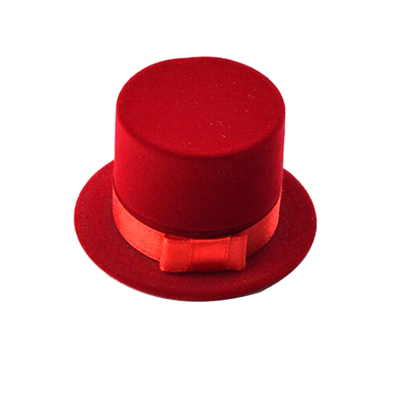 New Cute Hat Velvet Rings Jewelry Box Earring Ear Stud Case Gift Container For Rings Display Box Home Storage