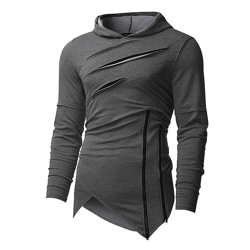 Autumn Fashion Mens Hip Hop Hoodies Irregular Design Hooded Pullover Sweatshirts Casual Split Holes Slim Fit Male Tops Plus Size