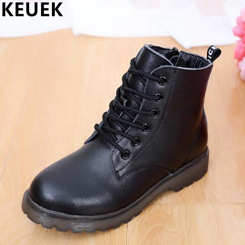 NEW Autumn/Winter Children Ankle Boots Boys Genuine Leather Shoes Kids Thick Plush Snow Boots Girls Baby Cotton Boots 044 2016 new fashion children martin boots girls boys winter shoes kids rain boots pu leather kids sneakers waterproof anti skid