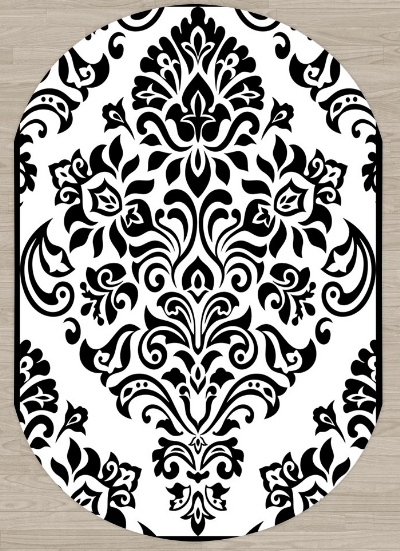 Else Black White Damask Vintage Authentic 3d Pattern Print Non Slip Microfiber Living Room Modern Oval Washable Area Rug Carpet