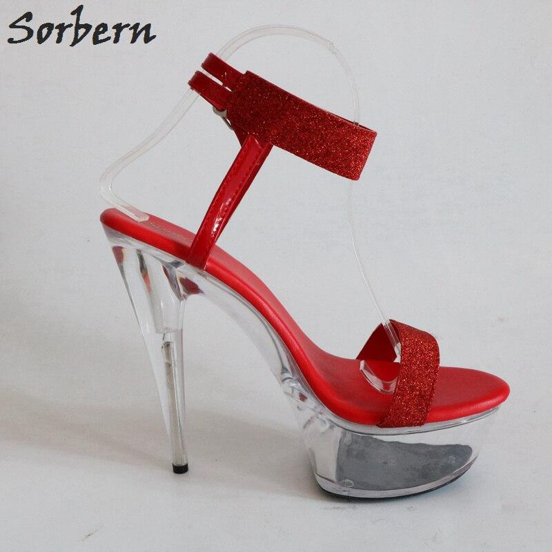 Color Purpurina Mujer Zapatos Sandalias Tacón Plata Rojos Verano WDYEIH2e9b