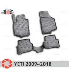 Коврики для Skoda Yeti 2009 ~ 2018 ковры Нескользящие полиуретановые грязи защиты подкладке автомобиля средства укладки волос
