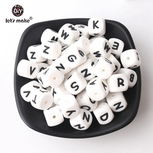 100pc Alphabet Letter Food Grade Silicone Chewing Beads for Teething Necklace in 26 letters BPA  Free FDA Silicone Letter Beads