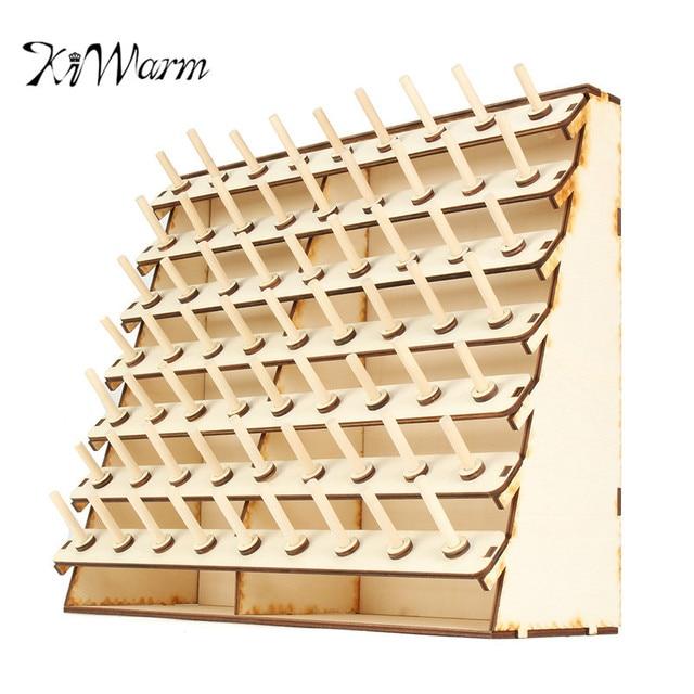 Kiwarm Durable 63 Spools Wood Sewing Thread Rack Stand Organizer