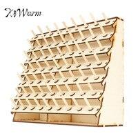 KiWarm Durable 63 Spools Wood Sewing Thread Rack Stand Organizer Craft Embroidery Storage Holder DIY Sewing