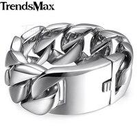 Men S 316L Stainless Steel 24MM Wide Huge Heavy Curb Chain Bracelet HB01