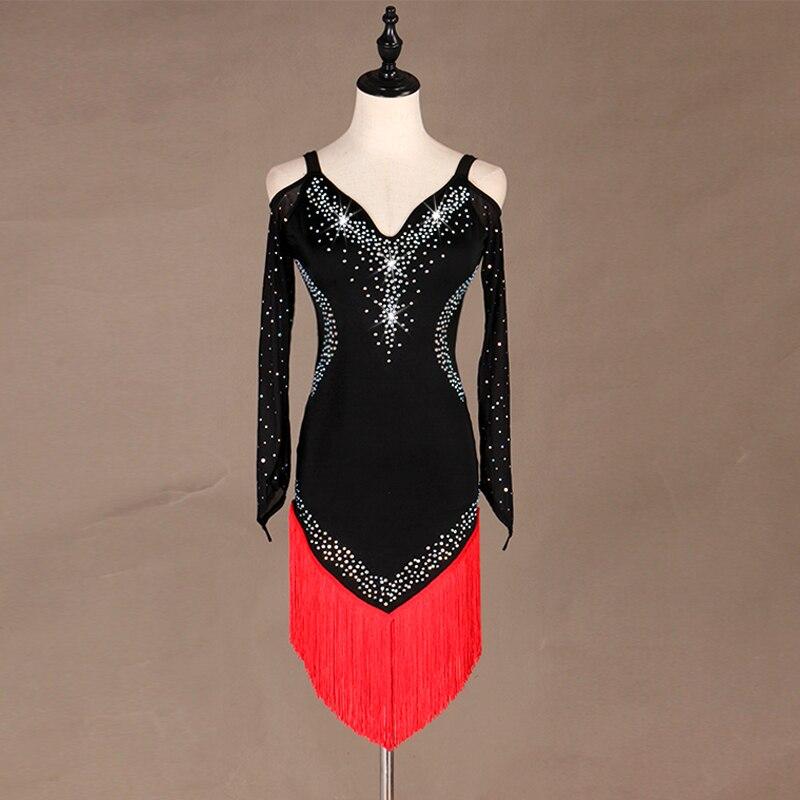 Salsa Dress Women Practice Dress Latino Dress  Rumba Dress Vestiti Da Ballo Latino For Girls Junior Fringe Tassel  Lq053