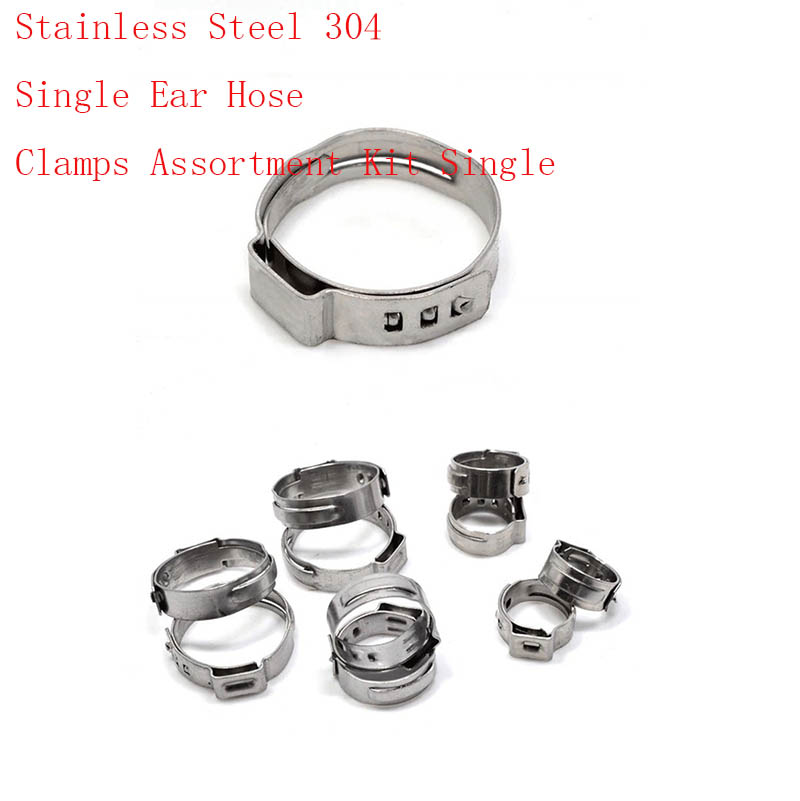 Free shipping Pipe Clamp High Quality 20 PCS Stainless Steel 304 Single Ear Hose Clamps Assortment Kit Single