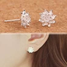 2016 Cute Female Handmade Jewellery Women's 925 Sliver Lotus Flower Ear Stud Earrings(China)