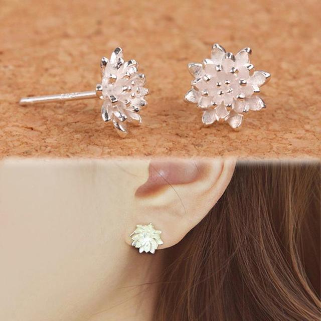 2016 Dễ Thương Nữ Handmade Trang Sức của Phụ Nữ 925 Sliver Sen Flower Ear Stud Earrings