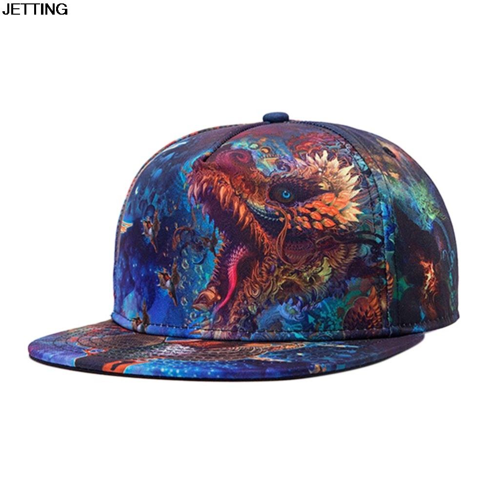 3D Print Spring Summer Dragon Flat Hats For Men Snapback Caps Colorful Hip Hop Baseball Cap Fashion Starry Sky Casquette Blue платье care of you care of you ca084ewjlm88