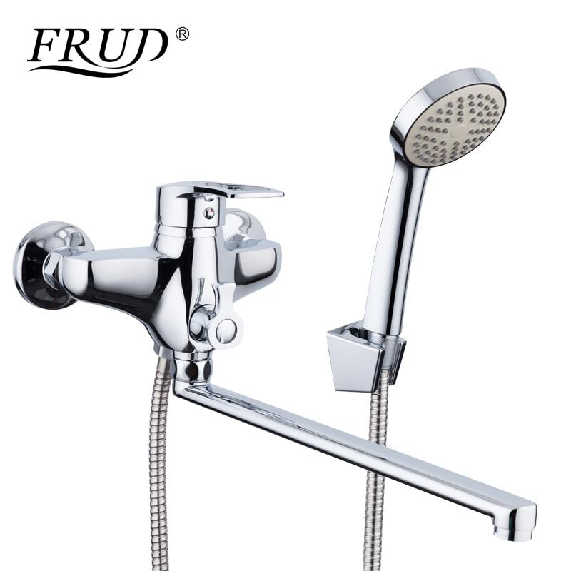 FRUD חדש הגעה 1 set אבץ סגסוגת צינור מוצא אמבטיה מקלחת ברזי מיקסר ברז עם יד מרסס מקלחת ראש אמבטיה ברזי R22066