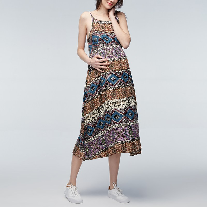 Maternity Clothes 2018 Pregnant Women Long Dress Bohemian Print Sleeveless Pregnancy Vestidos Loose Summer Mother Dress