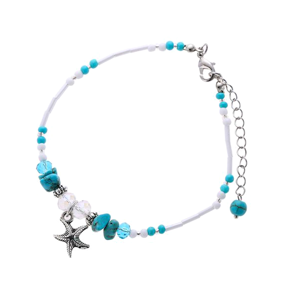 New Design Natural Stone Beaded Star Pendant Anklet Sea