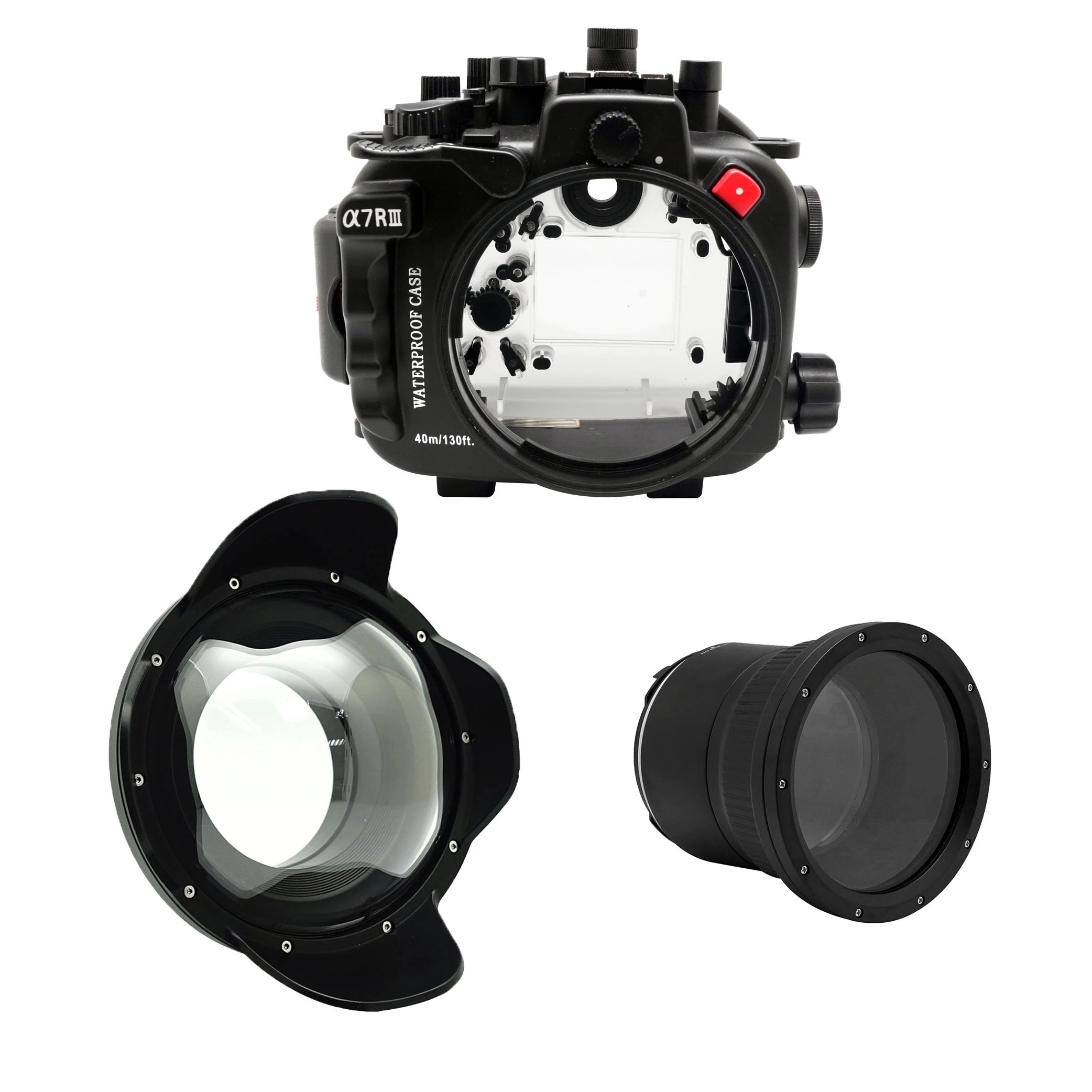 Seafrogs 40m 130ft Underwater Camera Housing Case for Sony A7III A7 III A7M3 A7R III with 90mm f/2.8 <font><b>Sigma</b></font> <font><b>35mm</b></font> f/<font><b>1.4</b></font> image