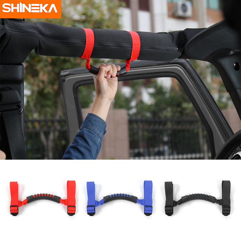 SHINEKA 4x4WD Armrest Top Grab Handles Grip Bar Pulling Tab Roll Bar Mount For Jeep Wrangler CJ TJ JK JL Sports Sahara Rubicon