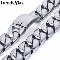 Trendsmax 31mm Super Heavy Curb Cuban Boys Mens Chain Silver Tone 316L Stainless Steel Necklace Custom Wholesale Jewelry HN35