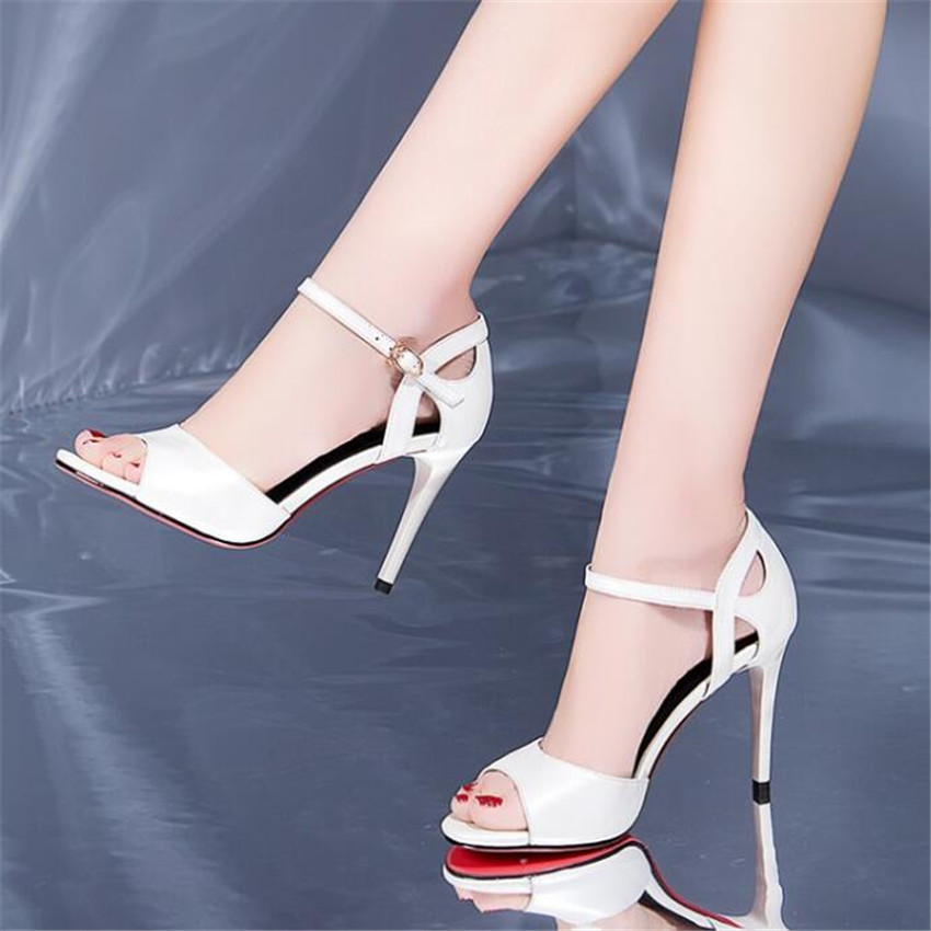 MLRCRIYG 2018 summer new leather sandals female fine with fish mouth high heel shoes Rome style buckles women's shoes