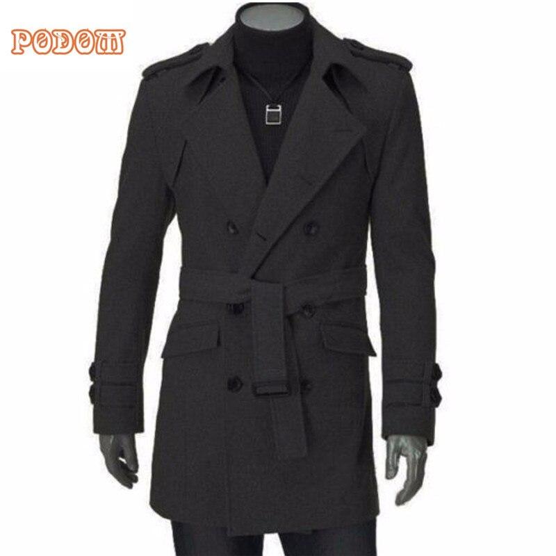 2018 Winter Warm Men's Faux Wool Trench Jackets Business Casual Slim Fit Double Breasted Belted Long Coat Windbreaker Outwear