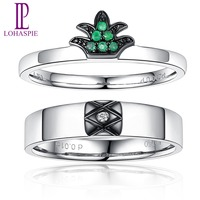 LP 18K Au750 White Gold Diamond Emerald Couple Rings for Lover's Fine Jewelry Romantic Pineapple Valentine's Gift 2019 New